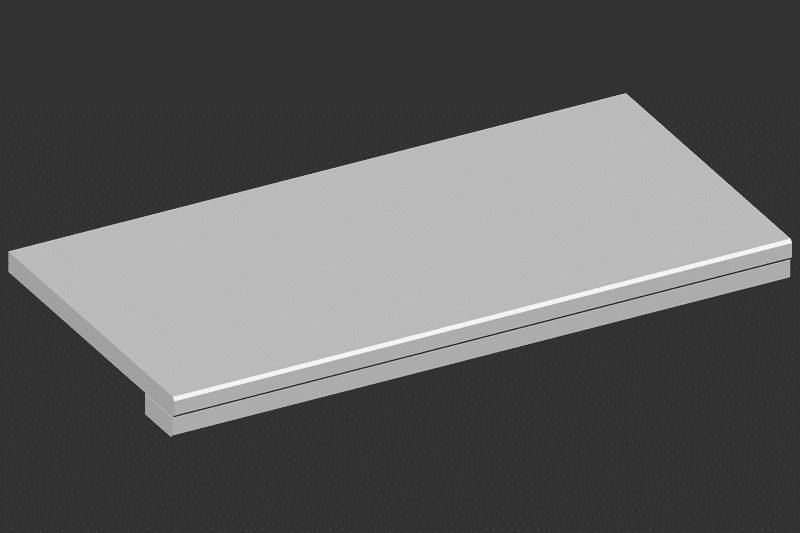 Sichtkante verdoppelt, 3 mm zurückgesetzt